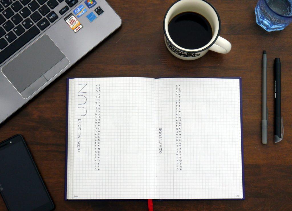 Bullet Journal - Plan with me Juni 2018. Monatsübersicht und Gratitude-Seite.