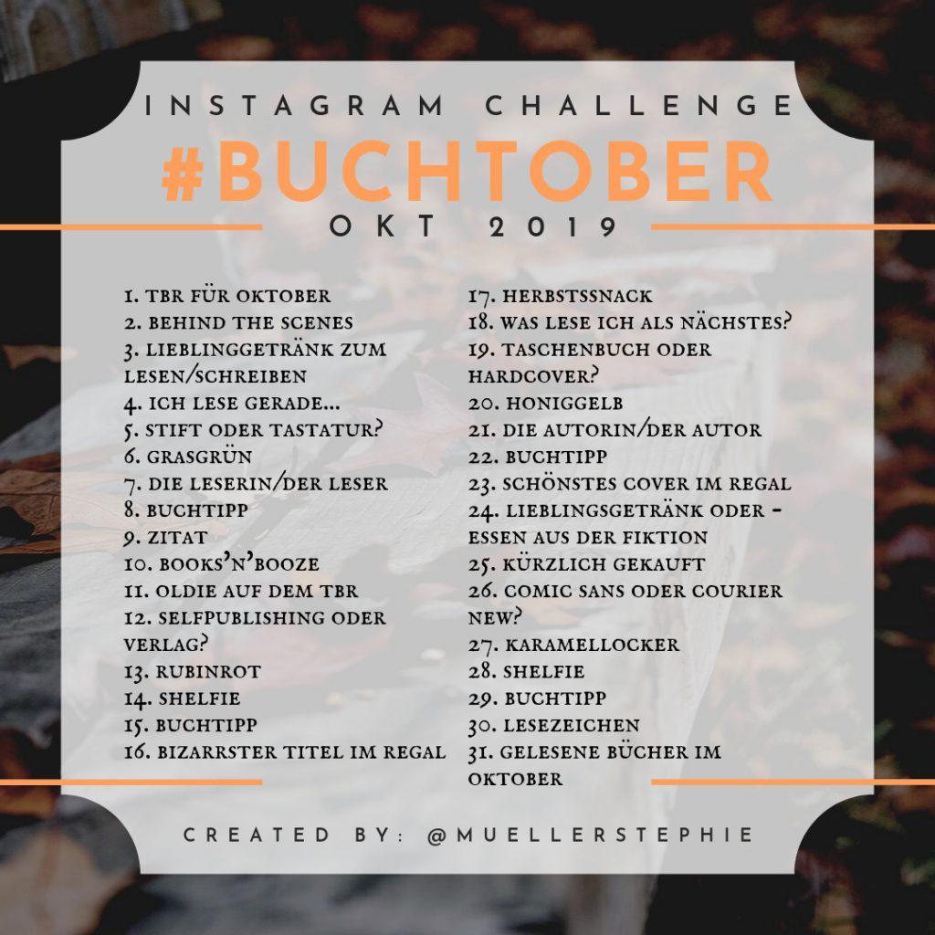 Liste mit 31 Aufgaben für die Instagram-Challenge #Buchtober